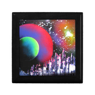 Spray Paint Art City Space Landscape Painting Jewelry Boxes