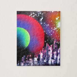 Spray Paint Art City Space Landscape Painting Jigsaw Puzzle