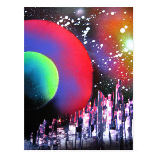Spray Paint Art City Space Landscape Painting Postcard