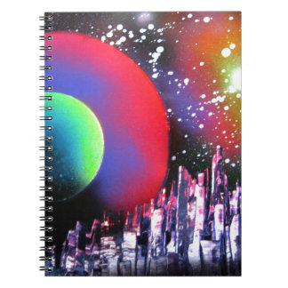 Spray Paint Art City Space Landscape Painting Spiral Note Books