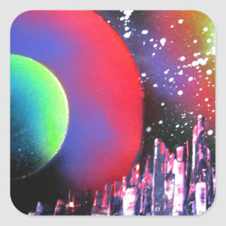 Spray Paint Art City Space Landscape Painting Square Sticker