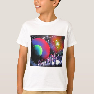 Spray Paint Art City Space Landscape Painting T-Shirt