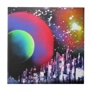 Spray Paint Art City Space Landscape Painting Tile