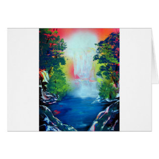 Spray Paint Art Forest Waterfall Sunset Painting Card