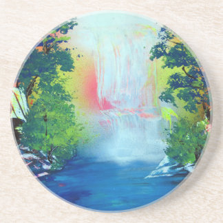 Spray Paint Art Forest Waterfall Sunset Painting Coaster
