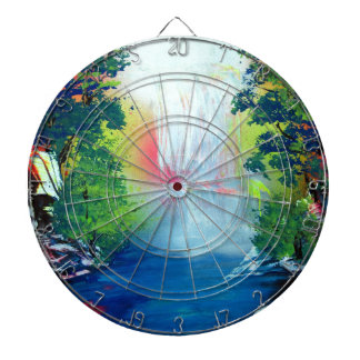 Spray Paint Art Forest Waterfall Sunset Painting Dartboard