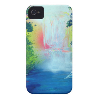 Spray Paint Art Forest Waterfall Sunset Painting iPhone 4 Cover