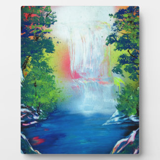 Spray Paint Art Forest Waterfall Sunset Painting Plaque