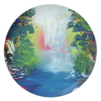 Spray Paint Art Forest Waterfall Sunset Painting Plate