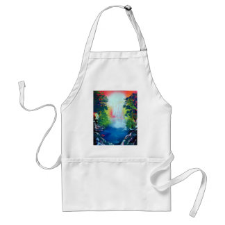 Spray Paint Art Forest Waterfall Sunset Painting Standard Apron