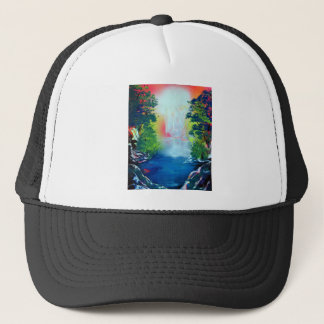Spray Paint Art Forest Waterfall Sunset Painting Trucker Hat