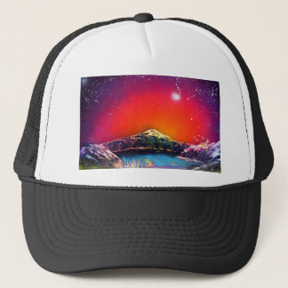 Spray Paint Art Mountain Pond Sunset Painting Trucker Hat