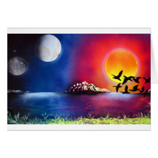 Spray Paint Art Night and Day Ocean Painting Card