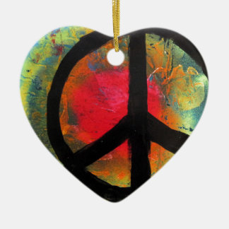 Spray Paint Art Rainbow Peace Sign Painting Ceramic Heart Ornament