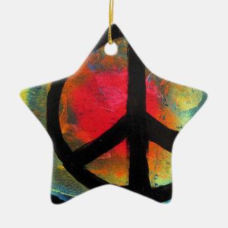 Spray Paint Art Rainbow Peace Sign Painting Ceramic Star Ornament