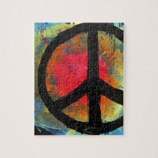 Spray Paint Art Rainbow Peace Sign Painting Jigsaw Puzzle
