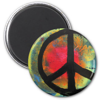 Spray Paint Art Rainbow Peace Sign Painting Magnet