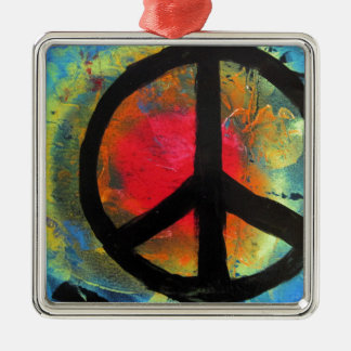 Spray Paint Art Rainbow Peace Sign Painting Metal Ornament