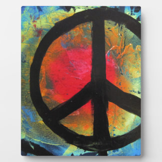 Spray Paint Art Rainbow Peace Sign Painting Plaque