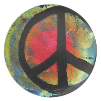 Spray Paint Art Rainbow Peace Sign Painting Plate