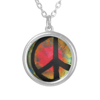 Spray Paint Art Rainbow Peace Sign Painting Silver Plated Necklace