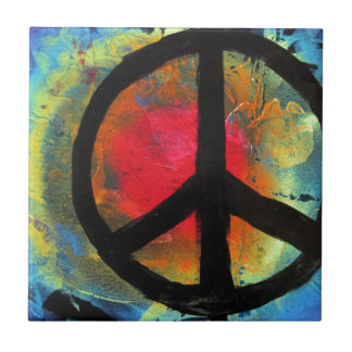 Spray Paint Art Rainbow Peace Sign Painting Tile