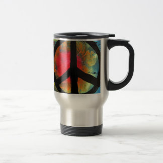 Spray Paint Art Rainbow Peace Sign Painting Travel Mug