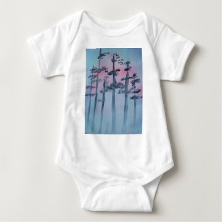 Spray Paint Art Sky and Trees Baby Bodysuit