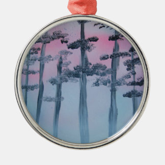 Spray Paint Art Sky and Trees Metal Ornament
