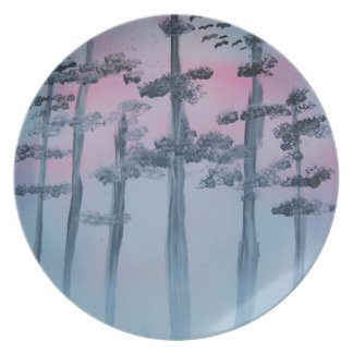 Spray Paint Art Sky and Trees Plate