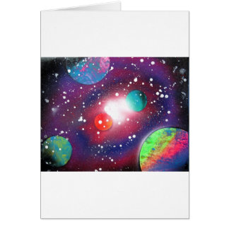 Spray Paint Art Space Galaxy Painting Card
