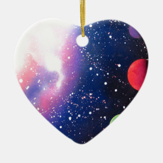 Spray Paint Art Space Galaxy Painting Ceramic Ornament