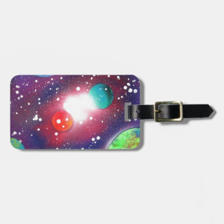 Spray Paint Art Space Galaxy Painting Luggage Tag