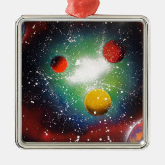 Spray Paint Art Space Galaxy Painting Metal Ornament
