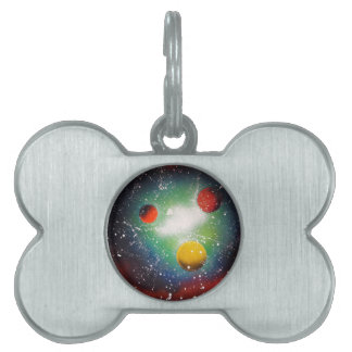 Spray Paint Art Space Galaxy Painting Pet Name Tag