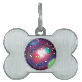 Spray Paint Art Space Galaxy Painting Pet Tags
