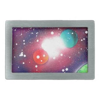 Spray Paint Art Space Galaxy Painting Rectangular Belt Buckle