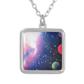 Spray Paint Art Space Galaxy Painting Silver Plated Necklace