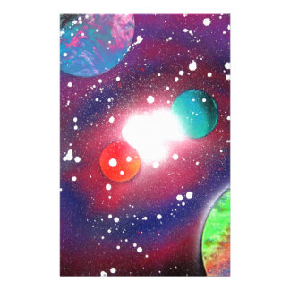Spray Paint Art Space Galaxy Painting Stationery Design