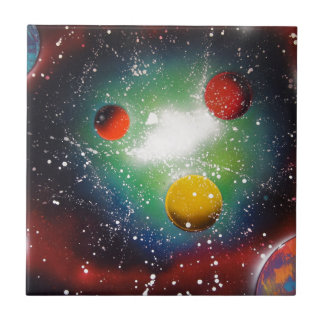 Spray Paint Art Space Galaxy Painting Tile