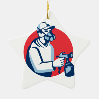 Spray Painter Spraying Paint Gun Retro Ceramic Ornament