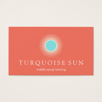 Spray Tanning Orange and Turquoise Sun Logo Business Card