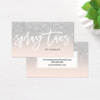 Spray tans typography silver glitter blush pink business card