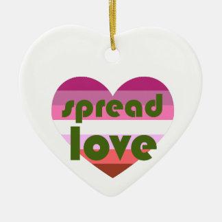 Spread Lesbian Love Ceramic Heart Ornament