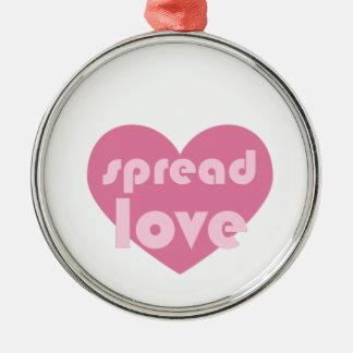 Spread Love (general) Silver-Colored Round Ornament