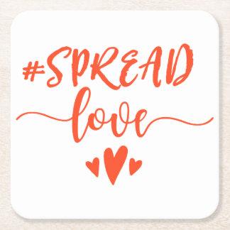 Spread love square paper coaster