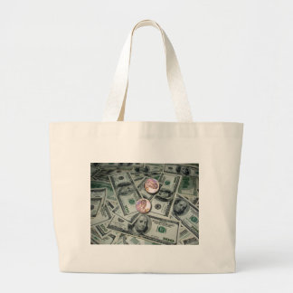 Spread of Money & Two Cents Large Tote Bag