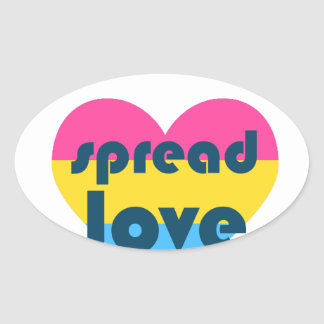 Spread Pansexual Love Oval Sticker