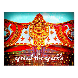 """Spread sparkle"" gold face carousel photo postcard"