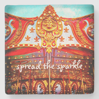 """Spread Sparkle"" Quote Gold Carousel Face Photo Stone Coaster"